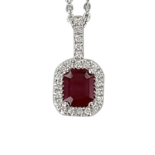 Rubis entourage diamants